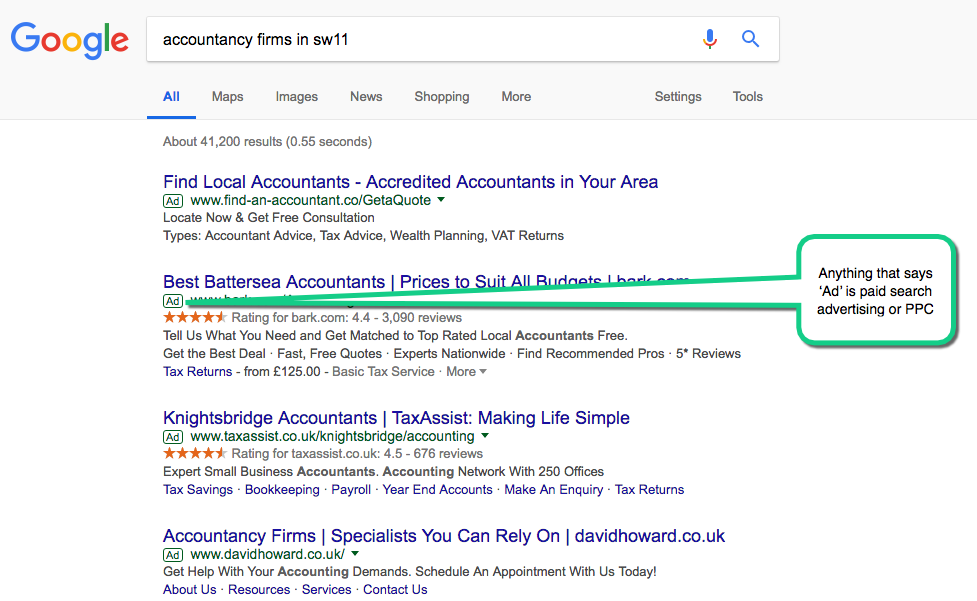 PPC search advertising example